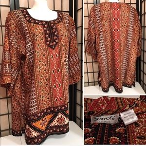 Santé Classics Womens Tunic Boho Paisley Cover Up